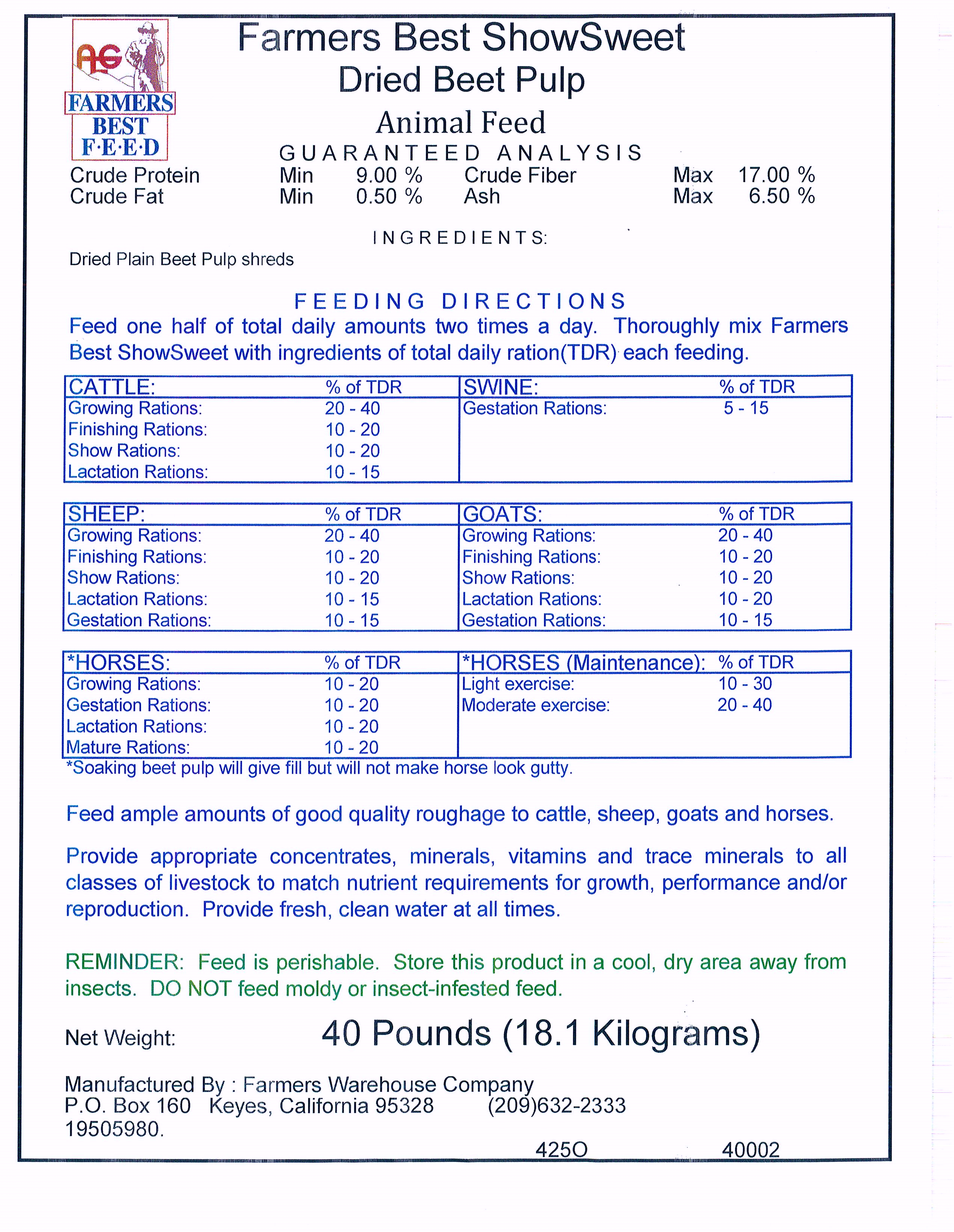 Products - Farmers Warehouse - High-Quality Animal Feed